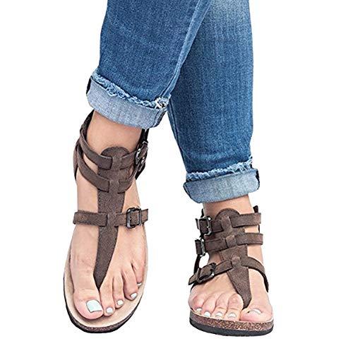 Mosstars Zapatos Romanos Mujer Señoras Mujeres Sandalias Moda Hebillas Planas Tobillo Zapatos de Playa Romanas Sandalias Mujer Verano 2019 Planas Sandalias de Vestir Mujer Verano 2018
