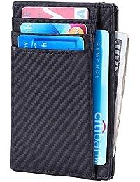 afd64ea2a RFID Blocking Wallet Minimalist Slim Leather Credit Card Holder for Men