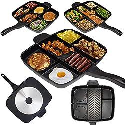 Masterpan Poêle à Frire Tout-en-Un à Compartiments pour Petit-déjeuner et Plus- 32x 38cm