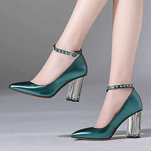 Jqdyl Tacones Zapatos Cristal Moda Correa Shallow Zapatos de mujer, Cyan, 38