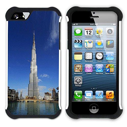 Graphic4You Burj Khalifa Dubai Postkarte Ansichtskarte Design Hart + Weiche Kratzfeste Hülle Case Schale Tasche Schutzhülle für Apple iPhone SE / 5 / 5S Design #3