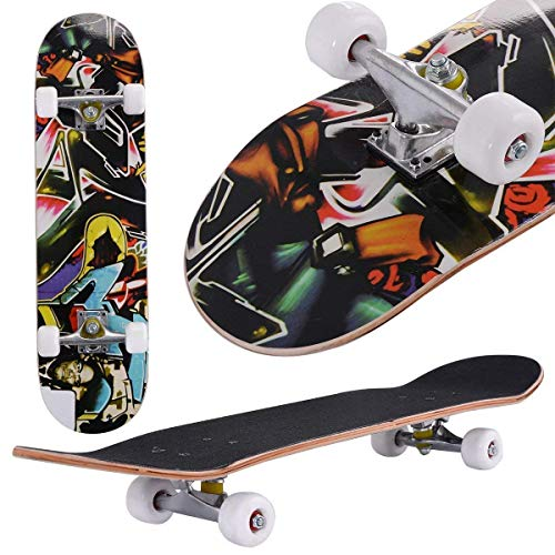 fiugsed Skateboard Komplettboard Mit ABEC-9 Kugellager Und 9-Lagigem Ahornholz 95A Rollenhärte Funboard FÜR Anfänger Und Profis - Belastung 100 KG (Menschlicher Kopf)