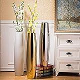 Willsego Vase, elektrisch, vergoldet, 70 cm, große europäische Stil, Wohnzimmer, Bodenvase, Keramik, galvanisiert, Silber und Weiß, 18 x 72 cm Silver 18x72cm