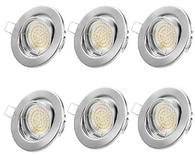 Einbaustrahler LED Set - Warmweiss Kaltweiss GU10 3W Warmweiß 230V Leuchtmittel - Einbau Rahmen Chrom Gebürstet - Einbauspots, 6 Stück Einbauleuchten