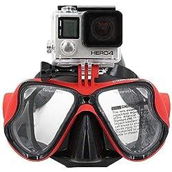 Telesin Masque de plongée avec support compatible avec GoPro Hero3, 3+ et 4/4Session, Red
