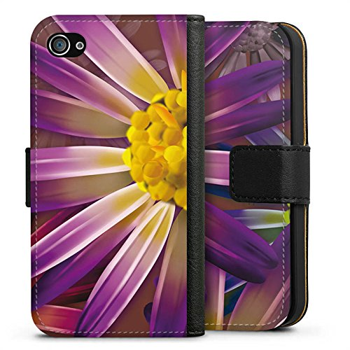 Apple iPhone X Silikon Hülle Case Schutzhülle Lila Blume Blüte Sideflip Tasche schwarz