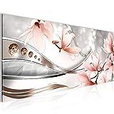 Bilder Blumen Magnolien Wandbild 100 x 40 cm Vlies - Leinwand Bild XXL Format Wandbilder Wohnzimmer Wohnung Deko Kunstdrucke Rosa 1 Teilig -100% MADE IN GERMANY - Fertig zum Aufhängen 207212a