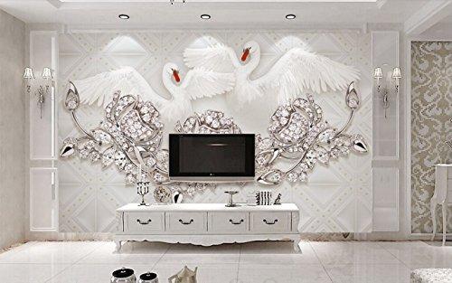 Fototapete 3D Effekt Tapete Luxuriöse Elegante Schwan Schmuck Rose Weichen Beutel Vliestapete 3D Wallpaper Moderne Wanddeko Wandbilder - Barock Beutel