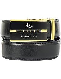 4614347f098e56 Löwenschild Leder Gürtel für Herren und Damen in schwarz mit Automatik  Schnalle in verschiedenen Längen…