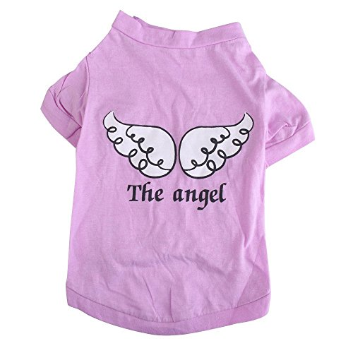 Camiseta del animal domestico - TOOGOO(R) Camiseta del animal domestico pequeno linda chaleco ropa del gato cachorro chaleco ropa para perros angel de impresion (Purpura, S)