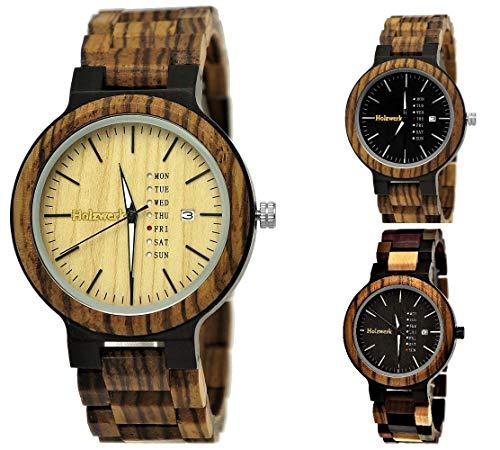 Handgefertigte Holzwerk Germany Matrix Herren-Uhr Öko Natur Holz-Uhr Holz Armband-Uhr Braun Schwarz Zebra Muster Analog Quarz-Uhr Future Edition Datum und Wochentag Anzeige (Braun - Zebra)
