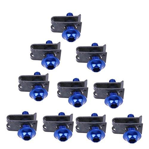 Vanpower 10 pcs 5 mm Carénage Boulons Spire Speed Clip de fermeture à vis Écrous à ressort (Bleu)