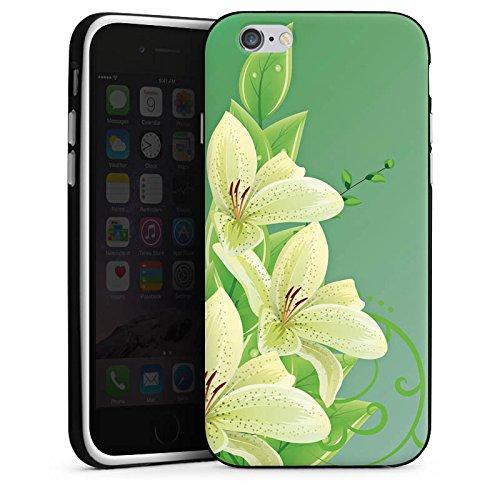 Apple iPhone X Silikon Hülle Case Schutzhülle Lilie Blume Lilly Silikon Case schwarz / weiß