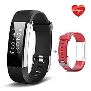 Lemebo Fitness Tracker heart rate Monitor Activity Tracker Waterproof IP67 Smart Bracelet Fitness Wristband Watch Bluetooth Pedometer with Sleep Monitor Smartwatch for iPhone 7 7 Plus 6 Samsung S8 and Other Android or iOS Smartphones
