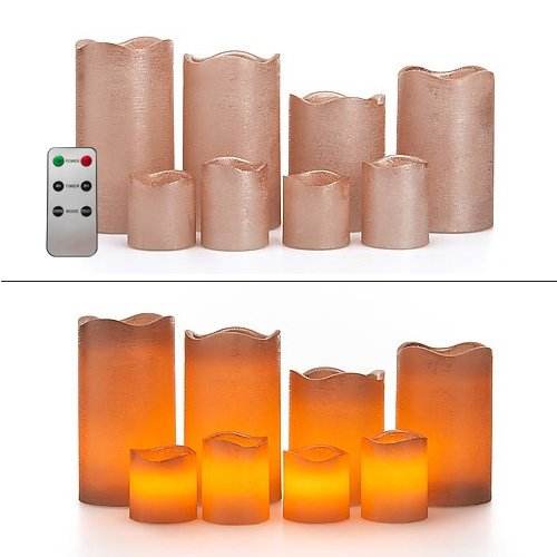 8 LED Echtwachskerzen Set mit Timer und Fernbedienung - 4 Stumpenkerzen und 4 Teelichter (Roségold Metallic)