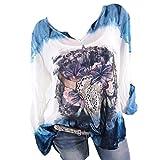TUDUZ Damen Freizeit V-Ausschnitt Große Größen Langarm Locker Hemd Blusenshirt Oberteile (XXXXL,Blau)