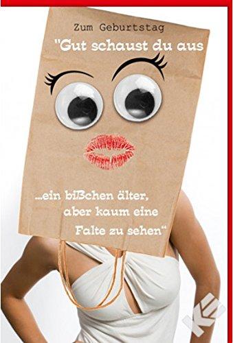 """Geburtstagskarte \""""kaum eine Falte\"""" mit Wackelaugen, B6 + Umschlag"""