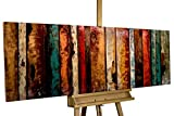 Extravagantes KunstLoft® Metallbild 3D 'Flashy Wood' 150x50x5cm | Design Wanddeko XXL handgefertigt | Unikat Luxus Wandskulptur | Abstrakt Bunt Holz | Wandbild Relief modern