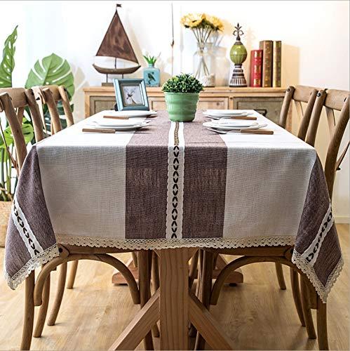 Dendenxiaopu Tischdecke Nordic Jacquard Baumwolle Und Leinen Bestickt Mit Fransen Spitze Geometrische Rechteckige Tabelle Kaffee Küche Esszimmer Picknick 100X140 cm D -