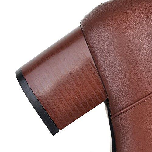 VogueZone009 Donna Punta Tonda Media Altezza Tallone Spesso Puro Stivali Marrone