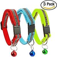 3er PACK Reflektierendes Katzen-Halsband mit Glöckchen - Ideale Halsbänder Größe für Katzen oder Kleine Hunde, Sicherheits-Schnellverschluss für Schnelles Öffnen (3er Set) (rot, blau, grün)