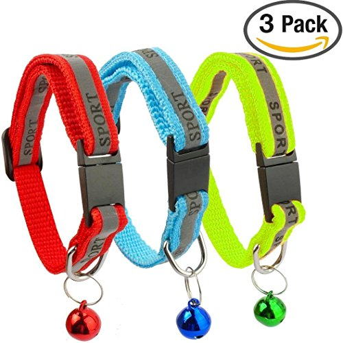 Kitygo® 3 PACK Reflective Cat Collar with Bell - Ideal Size Collars for Cats or Small Dogs, Safety Quick Release Breakaway Buckle (Set of 3) (Red, Blue, Green)