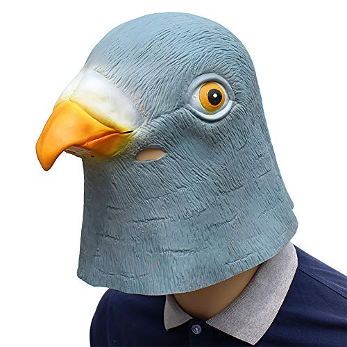 QETU Gruselige Taubenkopf Maske, 3D Latex Prop Tier Cosplay Kostüm Party Halloween,A