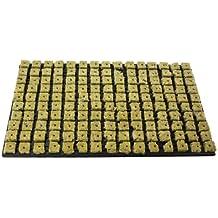 1x grodan Tray 150 unidad de cultivo de lana de piedra por bloque 2,5 cm x 2,5 cm en carcasa de plástico 53 cm x 32 cm, incluye greenception Crecimiento abono 100 g