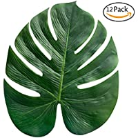 faylapa Tropical Palm hojas planta artificial hojas selva fiesta Luau hawaiano playa tema decoraciones para cumpleaños, eventos (Pack de 12)
