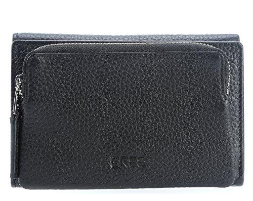 BREE Damen Liv 135, Black, Flap Wallet M Geldbörse, Schwarz (Black), 3x9x14 cm