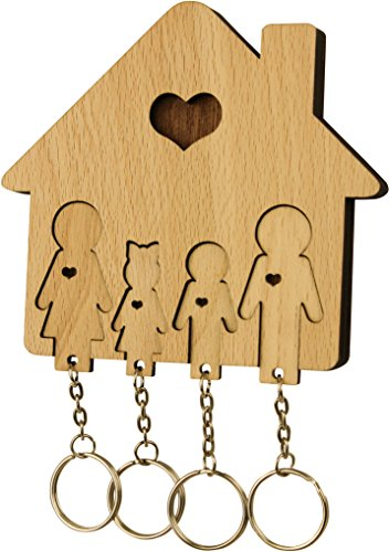 MiMi - Schlüsselbrett aus Holz mit Set Schlüsselanhänger - Familie mit Sohn & Tochter