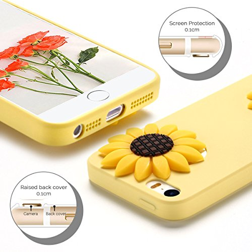 Cover iPhone 5S (4.0 pollici) Spiritsun iPhone 5 Custodia TPU Moda Elegante Case Cover Soft Silicone Back Cover Protezione Bumper Funzione Shell Morbida Flessible TPU Cover Per iPhone 5S/5/SE (4.0 Pol Girasole