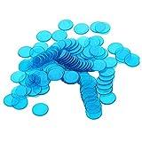100pcs Bingo Chips Spielmarken Spielchips Zählchips Chip-Poker aus Kunststoffe - Blau, 3cm