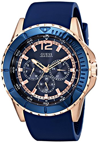 GUESS Men's U0485G1 Rose Gold-Tone Watch with Blue Silicone Band
