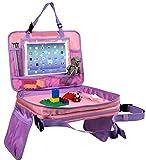 Gelible Kids Autositz, Reisetablett, Kleinkind, Snacks, Spieltablett mit abnehmbaren Netztaschen, Schoßorganizer fürs Flugzeug, für den Kinderwagen, Aktivitäten, zum Lernen und Reisen(Rosa)