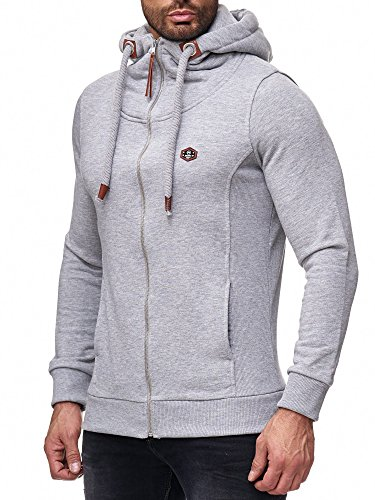 Red Bridge Herren Sweatshirt Sweatjacke Basic Sweat Kapuzenpullover Reißverschluss M2146 Grau