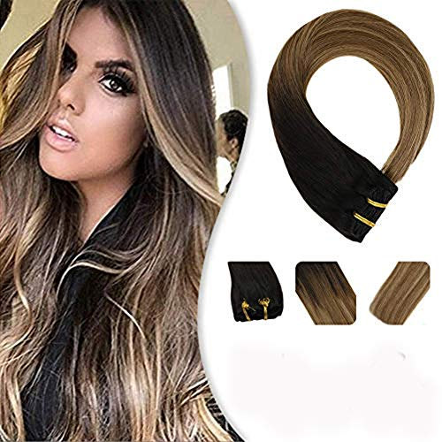 YoungSee 50 cm Extensions Echthaar Clip in Braun Gesträhnt mit Blond Balayage Dickes Haar Remy Clip in Extensions Human Hair 7pcs/120g