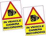 2x dans l'enregistrement de caméra véhicule en vinyle autocollant 100x 70mm...