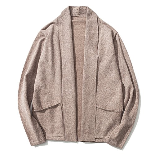 Zhhlinyuan Mode Men's Gentleman Shawl Collar Cardigan No Button Outerwear Khaki