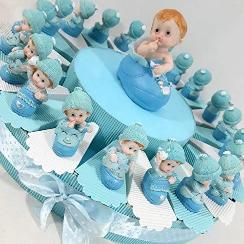Torte Gastgeschenk für junge Geburt, Geburtstag, Taufe mit Schuhe Himmelblau Versand inklusive Torta 20 fette