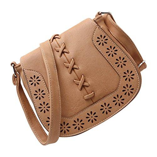borse di Crossbody - SODIAL(R)Donne Messenger Bag New Giapponese retro' fresco intagliato scava fuori spalla borse Delle Signore croce corpo borse borsa della donna di profondo rosa albicocca