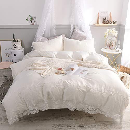 XMDNYE Mit Wasser Gewaschene Seide, Spitzen-Decken, Einfarbige, Doppelte Bettbezüge, Vier 1,8-Bett-Bettbezüge, Echte Seide, Perlweiß, 1,5-M-Bett -