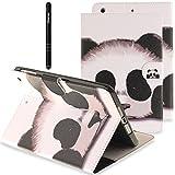 Slynmax Briefcase Tasche Flip Case Schutzhülle Kompatibel mit Samsung Galaxy Tab A (2016) T580 10,1 Zoll Hülle Wallet Case Panda PU Leder Schwarz Lederhülle Stand Ständer Karten Slot Handyhülle