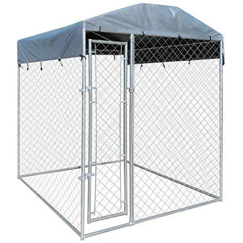 WT Trade Premium Hundezwinger für Draußen mit Dach und Tür   200x200x235cm   Hundehütte Hundekäfig Sonnendach Hundehaus Hütte   hochbelastbar außen Auslauf