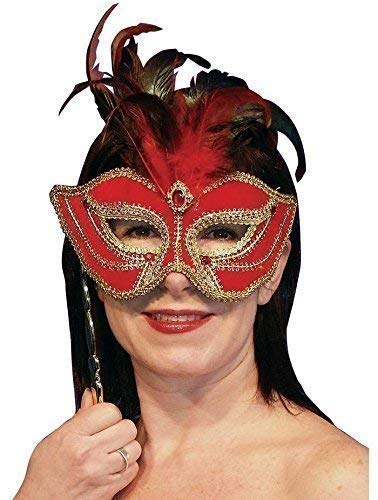 Damen Sexy Rot Gold Feder Mardi Gras Maskenball Barock Gesicht Augen Maske Am Stil (Mardi Gras Federn)