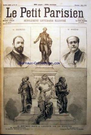 PETIT PARISIEN ILLUSTRE (LE) [No 57] du 09/03/1890 - LE MONUMENT ELEVE A LAFAYETTE PAR LES ETATS UNIS M. BOURGEOIS - LE NOUVEAU MINISTRE DE L'INTERIEUR M. MAZEAU - PREMIER PRESIDENTE DE LA COUR DE CASSATION