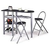 IDIMEX Ensemble Style avec Table Haute de Bar Mange-Debout comptoir et 2 chaises Tabouret, 3 tablettes et 1 Repose-Bouteilles, Table et Assise en MDF Noir Mat piètement métallique Couleur Aluminium