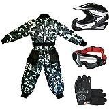 Leopard LEO-X19 Casco de Motocross para Niños + Gafas + Guantes + Traje de Motocross para Niños | Traje XS (3-4 Años) + Casco&Guantes S - Blanco