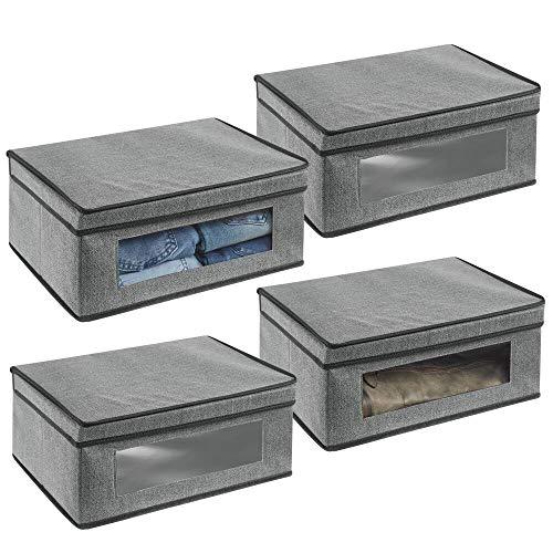 mDesign boite de rangement (lot de 4) - grand bac de rangement avec couvercle et hublot en plastique - panier de rangement rectangulaire pour ranger les vêtements dans la chambre - gris/noir