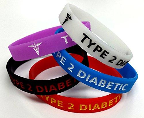www.wristbandsforyou.com 5x Typ 2Diabetiker XL groß Medicated Armband Diabetes Medical Bewusstsein Alert Armband Glow in The Dark, rot, schwarz, lila, blau